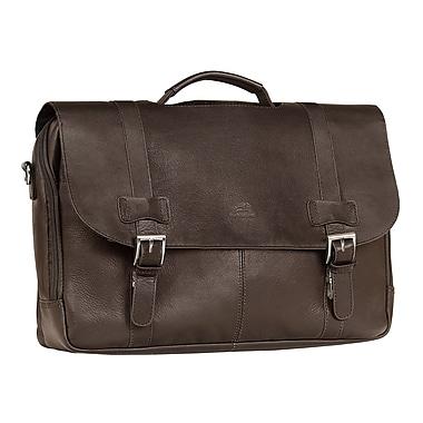 Mancini - Mallette à 2 compartiments pour ordinateur portatif et tablette, brun