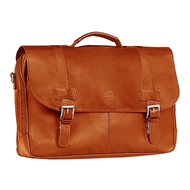 Mancini Double Compartment Briefcase for Laptop and Tablet, Cognac