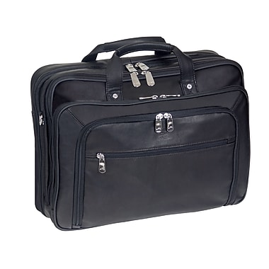 Mancini Checkpoint Friendly Double Compartment Briefcase for Laptop and Tablet, Black