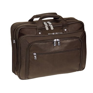 Mancini Checkpoint Friendly Double Compartment Briefcase for Laptop and Tablet, Brown
