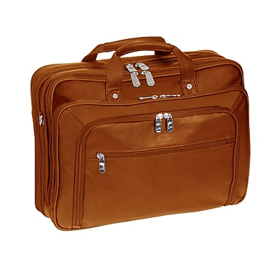 Mancini Checkpoint Friendly Double Compartment Briefcase for Laptop and Tablet, Cognac