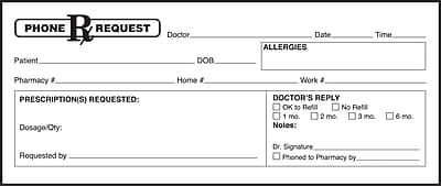 Medical Arts Press® Phone Message Labels; Adhesive Backed, Rx Request
