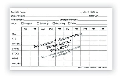 Medical Arts Press® Vet Cage Card; Provides a Record of Twice Daily Care, 3x5