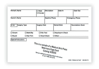 Medical Arts Press® Vet Cage Card; Check Off Boxes for a Variety of Services, 4x6