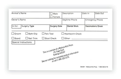 Medical Arts Press® Vet Cage Card; Check Off Boxes for a Variety of Services, 3x5