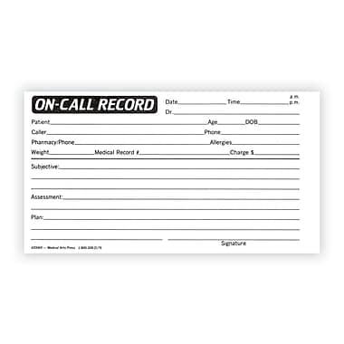 Medical Arts Press® On-Call Record Log; Standard 1-Part