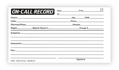Medical Arts Press® On-Call Record Log; Standard 1-Part