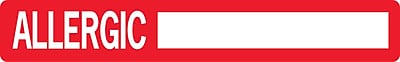 Allergy Warning Medical Labels; Allergic:, Red and White, 1x6-1/2