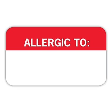 Allergy Warning Medical Labels; Allergic To:, Red and White, 7/8x1-1/2