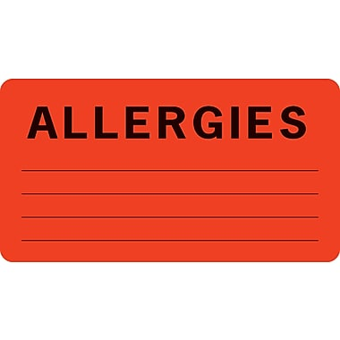 Allergy Warning Medical Labels; Allergies, Fluorescent Red, 1-3/4x3-1/4
