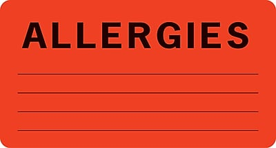 "Allergy Warning Medical Labels; Allergies, Fluorescent Red, 1-3/4x3-1/4"", 500"