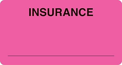 Insurance Chart File Medical Labels; Insurance, Fluorescent Pink, 1-3/4x3-1/4
