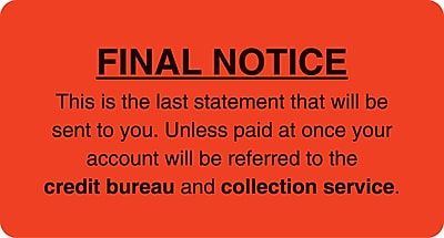 Collection & Notice Collection Labels; Final Notice/Last Statement, Fl Red, 1-3/4x3-1/4