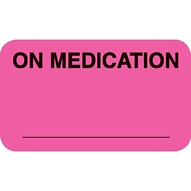 Diet and Medical Alert Medical Labels; On Medication, Fluorescent Pink, 7/8x1-1/2