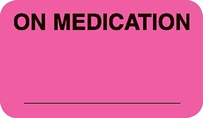 Diet and Medical Alert Medical Labels; On Medication, Fluorescent Pink, 7/8x1-1/2