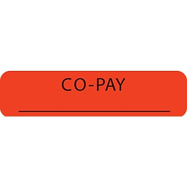 Insurance Chart File Medical Labels; Co-Pay, Fluorescent Red, 5/16x1-1/4
