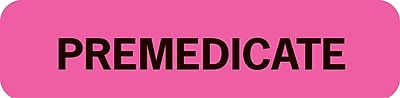 Chart Alert Medical Labels; Premedicate, Fluorescent Pink, 5/16x1-1/4