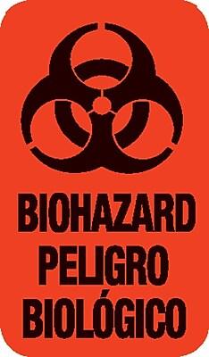 Biohazard Pre-Printed Labels; Standard, Vertical, Red, 7/8x1-1/2
