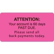 "Reminder & Thank You Collection Labels; Attn./60 Days Past Due, Fl Pink, 1-3/4x3-1/4"", 500 Labels"