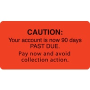 "Past Due Collection Labels; Caution/90 Days Past Due, Fl Red, 1-3/4x3-1/4"", 500 Labels"