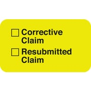 """Insurance Carrier Collection Labels; Corrective/Resubmitted, Fl Chartreuse, 7/8x1-1/2"""", 500 Labels"""