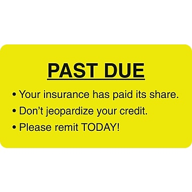 Patient Insurance Labels; Past Due, Fluorescent Chartreuse, 1-3/4x3-1/4