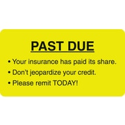 "Patient Insurance Labels; Past Due, Fluorescent Chartreuse, 1-3/4x3-1/4"", 500 Labels"