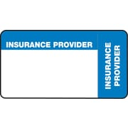 """File Folder Insurance Labels; Insurance Provider, Blue and White, 1-3/4x3-1/4"""", 500 Labels"""