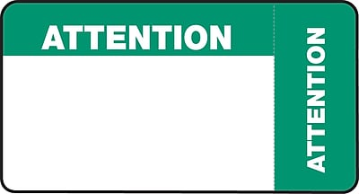 Wrap-Around Medical Labels; Attention, Blue and Green, 1-3/4x3-1/4