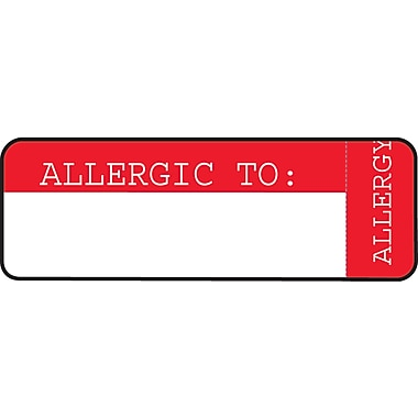 Wrap-Around Medical Labels; Allergic To:, Red and White, 1x3
