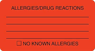 Allergy Warning Medical Labels; Allergies/Drug Reactions, Fluorescent Red, 1-3/4x3-1/4