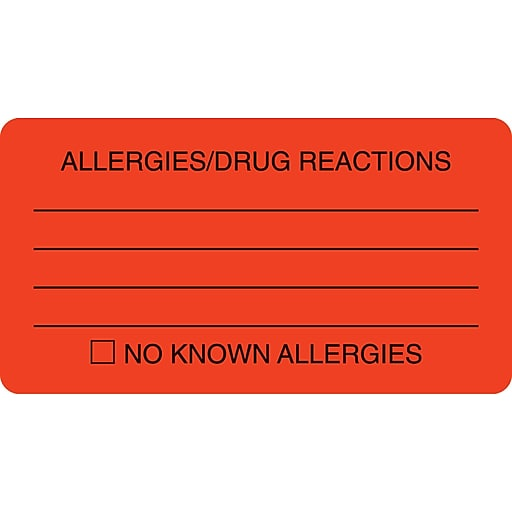 allergy warning medical labels allergies drug reactions