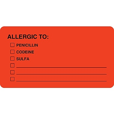 Allergy Warning Medical Labels; Allergic To:, Fluorescent Red, 1-3/4x3-1/4