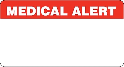 Chart Alert Medical Labels; Medical Alert, Red and White, 1-3/4x3-1/4