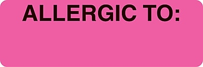 Allergy Warning Medical Labels; Allergic To, Fluorescent Pink, 1x3