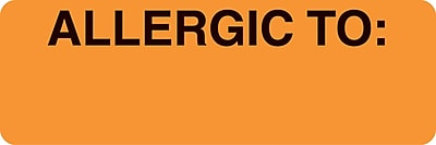 Allergy Warning Medical Labels; Allergic To, Fluorescent Orange, 1x3