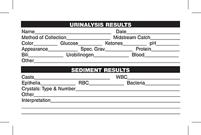Medical Laboratory Labels; Urinalysis Results, White, 2-1/2x4