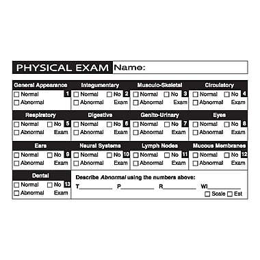Veterinary Examination Medical Labels; Physical Exam, White, 2-1/2x4