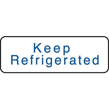Medication Instruction Labels; Keep Refrigerated, White, 1/2x1-1/2