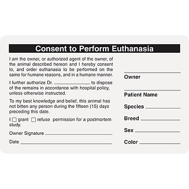Veterinary Consent/Release Medical Labels; Consent/Euthanasia, White, 2-1/2x4