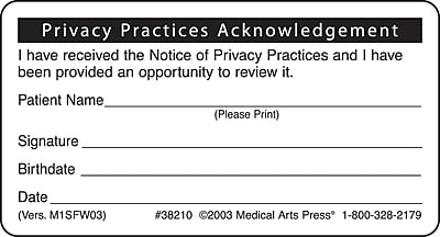 Patient Record Labels; Privacy Practices Acknowledgement, White, 1-3/4x3-1/4
