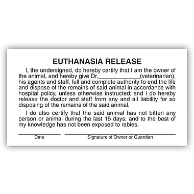 Veterinary Consent/Release Medical Labels; Euthanasia Release, White, 1-3/4x3-1/4