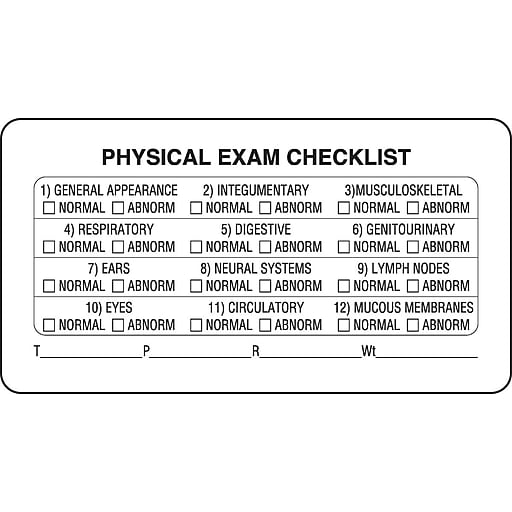 Veterinary Examination Labels Physical Exam Checklist White 175