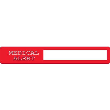 Chart Alert Medical Labels, Medical Alert, Red and White, 1 x 6.5 inch, 100 Labels