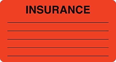 Insurance Chart File Medical Labels; Insurance, Fluorescent Red, 1-3/4x3-1/4