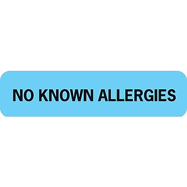 Allergy Warning Medical Labels; No Known Allergies, Light Blue, 5/16x1-1/4