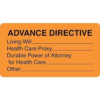 Chart Alert Medical Labels; Advance Directive, Fluorescent Orange, 1-3/4x3-1/4