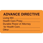 "Chart Alert Medical Labels; Advance Directive, Fluorescent Orange, 1-3/4x3-1/4"", 500 Labels"