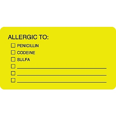 Allergy Warning Medical Labels; Allergic To:, Fluorescent Chartreuse, 1-3/4x3-1/4
