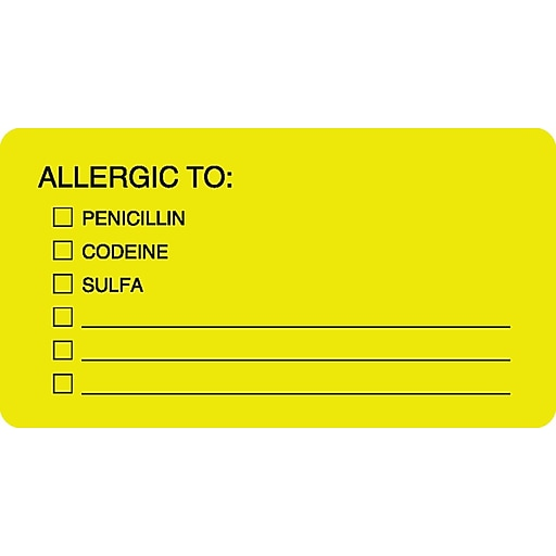 allergy warning medical labels allergic to fluorescent chartreuse